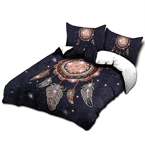 IMMIGOO Juego de Cama Funda de Edredón 200 x 230 cm + 2 Funda de Almohada 50 x 75 cm Tema Atrapasueños Ropa de Cama Naturaleza Dreamcatcher Decoración - Azul Oscuro