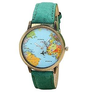 Reloj Para Mujer ,Feixiang ♈Nuevo Viaje Global Por AvióN Mapa Mujeres Vestido Reloj Banda De Tela De Mezclilla Ginebra Relojes