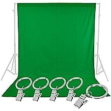 Neewer–6x 9Piedi pura mussola sfondo pieghevole, con 5pezzi pinze a molla per la fotografia, video e televisione (Verde)