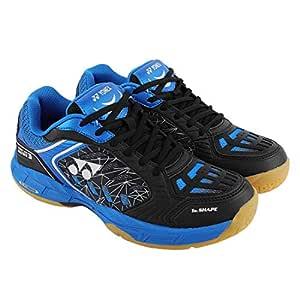 Yonex Court Ace Matrix 3 Non Marking Badminton Shoes, 6 UK (Black/Blue)