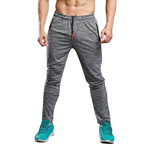 Pantalón Deportivo Largo Hombre SUNNSEAN Sólido Pantalones Deportivos  Elástico Ajustados al Aire Libre Running Jogger Deportes e86ba538443b