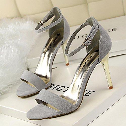 Lgk Camoscio Femmina Calzature Di Modo 36 Ed Tacco Semplice All'inizio Metalli Per Elegante Sandalo Grigio PPwr0q