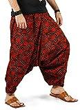 THE HAREM STUDIO Haremshose Herren Damen Aladinhose alternative Kleidung Pumphose Shalwar Hose Aladinhose Goa Hose - Spiral Stil (Rot)