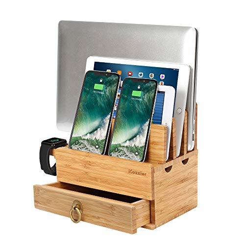 iCozzier 4 Slots Abnehmbarer Bambus-Uhrenständer Mit Schublade Ladestation für mehrere Geräte Dock für iWatch, Smartphones, Tablets, Laptops