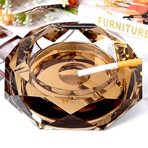 Cenicero de Cristal de cenicero Cenicero de la Sala Cenicero de Moda de Europa Regalos Grandes Productos para el hogar Equipaje (Color : Gold, Size : 12 * 12 * 3 cm/5 * 5 * 1 Inch)