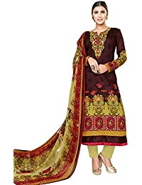 6aa6101dd3 Rosaniya Un-Stitched Pakistani Embroided Self Printed & Digital Printed  Cotton Lawn Straight Salwar Suit for Women with…