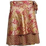 Mogul Interior Beach Wrap Skirt Women's Stylish Gypsy Brown Floral Printed Silk Sari Short Skirts