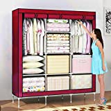 #5: Nayka 66inch Portable Wardrobe stainless steel Cloth Closet Organizer Storage with Cover and Clothes Rods Durable Sturdy shelves(Maroon)