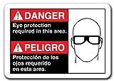 Funny Sign regalo peligro señal de peligro protección ocular requerida en este área (bilingüe español) señal de seguridad al aire libre Metal Sign de aluminio placa de pared decoración