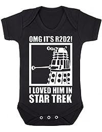 OMG It's R2D2 Baby Grow Vest Funny Dalek Star Trek Newborn Boys Girls Gift Black