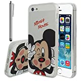 Apple iPhone 5/ 5S/ SE Étui HCN PHONE Coque silicone TPU Transparente Ultra-Fine Dessin animé jolie pour Apple iPhone 5/ 5S/ SE + stylet - Mickey Mouse