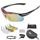 Occhiali da ciclismo, Occhiali da sole sportivi polarizzati da esterno Meiwo con 5 obiettivi intercambiabili per uomo e donna, attrezzatura perfetta per il motociclismo Sciistica Guida Escursionismo Pesca a cavallo
