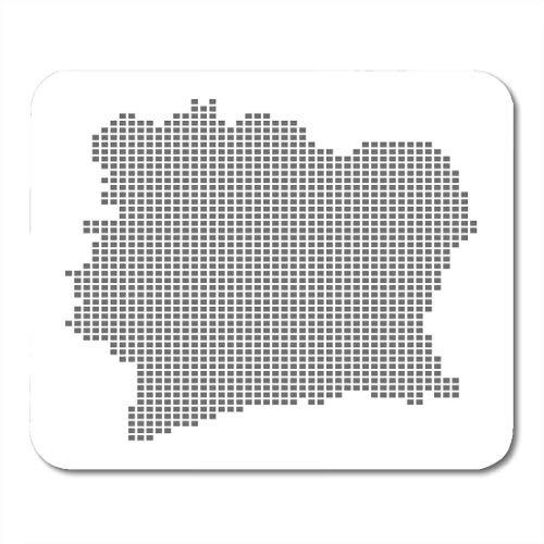 Mauspad mit Bordüre, Motiv Afrika-Pixel-Karte, Elfenbeinküste, gepunktet, Weiß