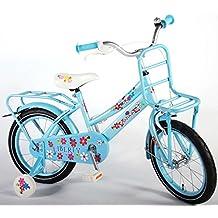 Bicicleta niña de 16 pulgadas 4 5 6 años ruedas extraíbles portaequipajes de techo delantera y trasera azul