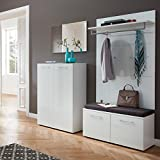 Garderobe 4-teilig ● Weiß mit Glasfronten ● Garderobenset: Schuhschrank, Schuhbank, Spiegel, Garderobenpaneel ● Made in Germany