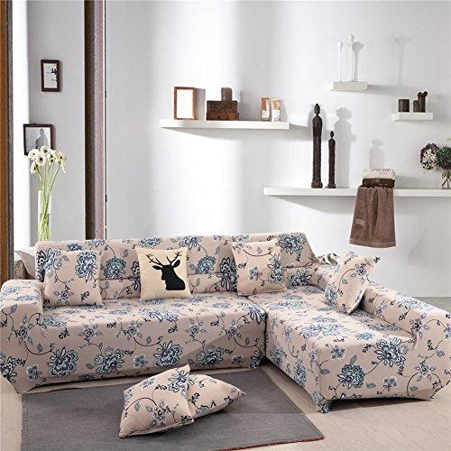 Getmorebeauty Copri divano elastico tessuto, per divani a 2,3e 4posti, per divani ad angolo, ad L e componibili, motivo floreale o animale, Sensitive Plant, L-shaped 3+3 seats