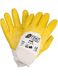12 Paar Nitras 03400 Nitrilhandschuhe gelb teilbeschichtet mit Strickbund