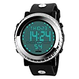 Farsler Multifunction Men's 50M Waterproof EL Light Big dial Digital Electronic Watch Alarm Stopwatch Time Outdoor Swimming Diving Male Student Sports Wirst Watch (Silver)