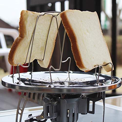 Huangmeng utensili da campeggio all'aperto da forno 4 fette in acciaio inox da campeggio pieghevole tostapane rack toast vassoio pane toast huangmeng