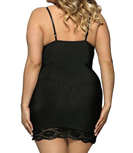 Jnsdmyxp Damen (M-5XL) Schwarze Spitze Lace Übergrößen Hosenträger Babydoll Erotik Gestreift Dessous Große Größen Schwarz