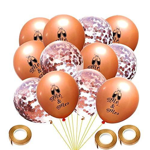 50 Stück Hochzeit Ballons Rose Gold Herr Frau Ballons Konfetti-Ballons mit 3 Rollen Ballon Bänder für Hochzeitstag Engagement Party Decor (Engagement Party Ballons)