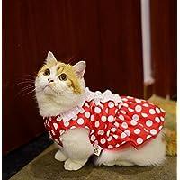 PvxgIo Ropa para Mascotas Verano Punteado Vestido Gato Ropa para Perros Rojo S