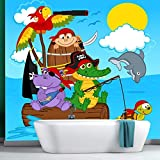 Pirat Wandbild Tiere Foto-Tapete Boys Schlafzimmer Nursery Wohnkultur Erhältlich in 8 Größen XX-Groß Digital