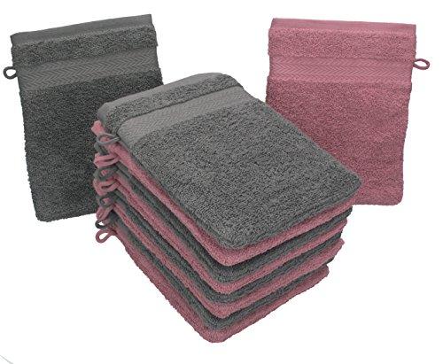 Betz 10er Pack Waschhandschuhe Waschlappen Größe 16x21 cm Kordelaufhänger 100% Baumwolle Premium Farbe Altrosa & Anthrazit Grau