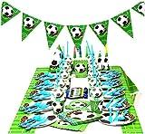 Vaisselle Jetable Anniversaire Decoration Football, Coupe du Monde Partie à Thème Vert Fournitures de Fête Décoration Set pour Fournitures de Fête d'anniversaire et Mariage