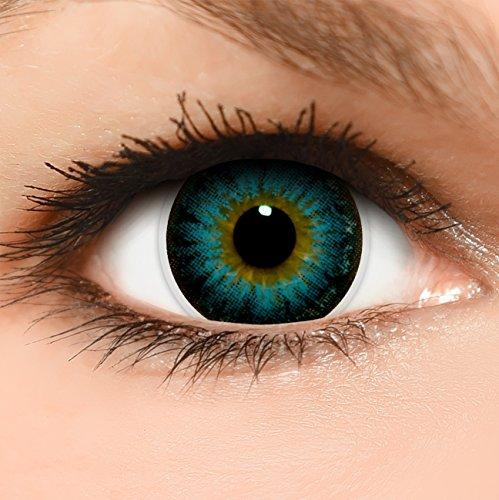 Linsenfinder Lenzera Circle Lenses blaue 'Circle Blue' ohne und mit Stärke + Kombilösung + Behälter 14,50mm farbige Kontaktlinsen