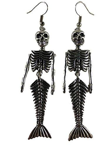 Ohrringe Skelett - Ohrringe Ohrhänger Hänger Gothic Totenkopf Meerjungfrau