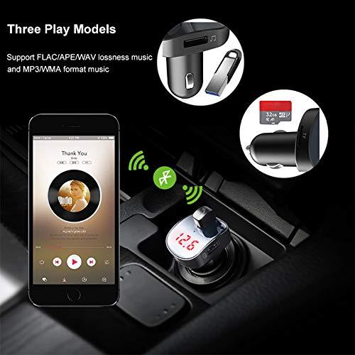periwinkLuQ Kfz-FM-Emitter QC3.0 Dual USB MP3 5 V / 3,1 A TF-Kartenschlitz Handy-Ladegerät für iPhone X/8/8 Plus, Galaxy S9/S8/S7, Note 8/7, Schwarz -