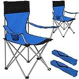 TecTake 2er Set Campingstuhl Anglersessel blau/schwarz wasserabweisend mit Getränkehalter inkl. Tragetasche Regiestuhl
