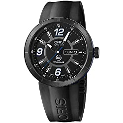 Oris TT1 Williams Automatic Black DLC Coated Steel & Rubber Mens Watch Day-of-Week & Date 735-7651-4765-RS