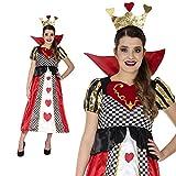 Herzkönigin Märchen Spielkarte Herz Kostüm Damen Lang