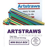 Amazing Arts and Crafts ARTSTRAWS MINI SCHOOL PACK COLOURED PAPER STRAWS ART STRAWS THIN GREEN RED YELLOW BLUE