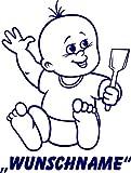 INDIGOS UG - Babystrampler / Strampler 081 mit Wunschname / Wunschtext schwarz 50/56
