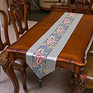 XHC Luxury Embroidered Table Runner,Artbisons Vinyl Table Runners Washable|for Wedding Party Decor (32x205cm) (color : Blue)