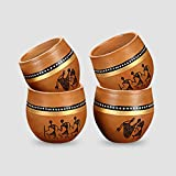 [Sponsored]ExclusiveLane 'New-Old World Charms' Warli Hand-Painted Kulhads In Terracotta (Set Of 4)-Tea Glasses Cutting Chai Glasses Kullad Tea Cups Kullad Mugs Glasses Tableware Ethnic