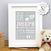 Personalised Cute Baby Elephant New Baby Gift, Birth, Christening, Boy, Girl, Newborn Stats, Nursery Art, Picture Gift, Childs Room Art - FREE SHIPPING - Print or Framed Print