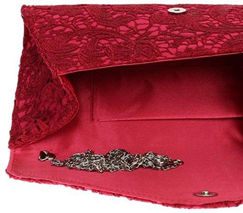 H&G Mesdames dentelle Satin embrayage sac surdimensionné Womens soirée événements Fashion épaule chaîne - Champagne Red