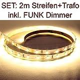 DELLOPTOELECTRONICS Set: 3528 LED Streifen WARMWEISS + Trafo + Dimmer mit Funk Fernbedienung (2 Meter)