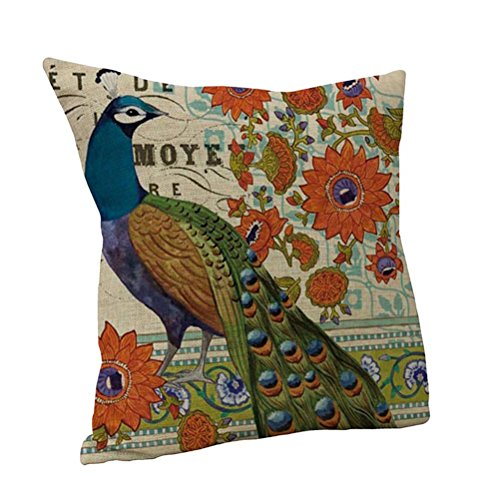 Nunubee Cotton Linen Bed Car Sofa Decor Throw Pillow Case Cushion Cover Peacock C