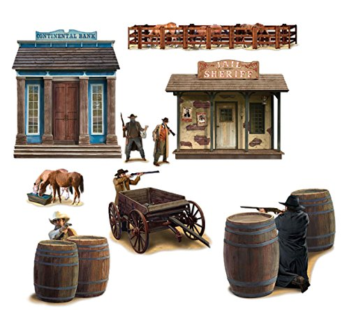Dekorationen Western Party (erdbeer-party - Party Dekoration Wand Deko - Wilder Westen - 9 Stück, 30-177cm,)