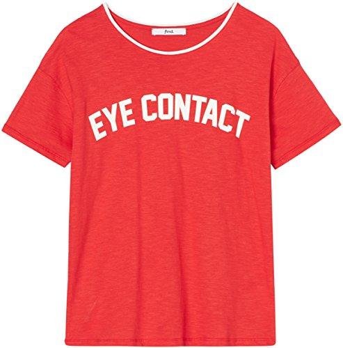 FIND Damen T-Shirt mit Logo-Print Rot (Red), 36 (Herstellergröße: (In Den Jahren 60er Frauen)
