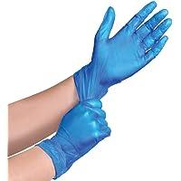 100 (1 Box) x BLUE Vinyl Powder Free Gloves Disposable Food Medical etc. (Small)