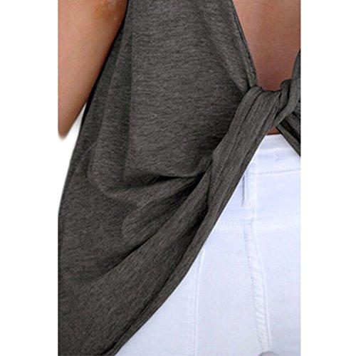 Donna Collo Rotondo Manica Girocollo Senza schienale Colore solido Casual Moda Top T-shirt Maglietta Camicia Camicetta Canottiera Gilet Tops Grigio scuro