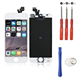 Touch Screen Digitizer Assembly Replacement for iPhone 5 White Glass LCD Display FREE Repair Tool Kits & Screen Protector Film,Touchscreen Ersatz Bildschirm Front Komplettes Glas Für Apple iPhone 5 (Weiss)