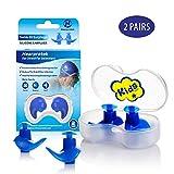 Hearprotek Bouchons d'oreille de Natation, 2 Paires de Bouchons imperméables en Silicone réutilisables pour Piscine-Mer-Bain-Natation & Sports Aquatiques Taille Enfant (Bleu)