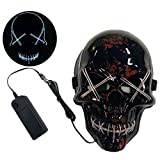Tanwenling33 Halloween Scary Mask LED, Cosplay LED Costume Mask, Scary Skull Mask, LED Light Up Mask